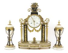 A matched French ormolu and marble clock garniture,