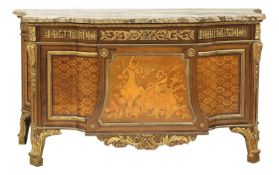 A Louis XVI-style inlaid, parquetry and mahogany marble top commode,