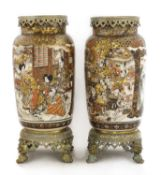 A pair of large Satsuma and gilt-metal mounted vases,