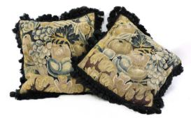 A pair of verdure tapestry cushions,
