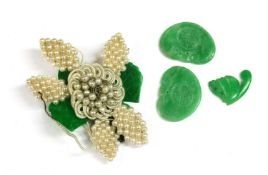 A seed pearl and jade flower,