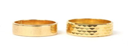 Two Portuguese gold wedding rings,