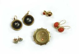 A Victorian gold coral and split pearl brooch,