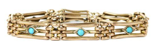 An Edwardian gold turquoise set gate bracelet,