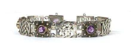 An Arts & Crafts silver amethyst set bracelet by Murrle Bennett & Co., c.1910,
