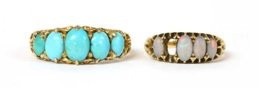 A Victorian gold five stone turquoise ring,