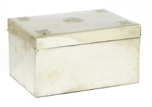 A Scottish Arts and Crafts white metal jewellery box,