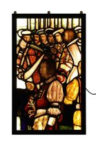 A large stained glass panel,