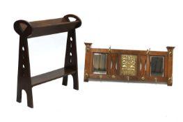 An Arts and Crafts oak book trough,