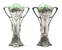 A pair of WMF silver-plated vases,