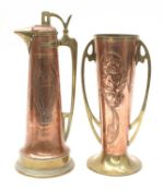 A secessionist copper ewer and cover,
