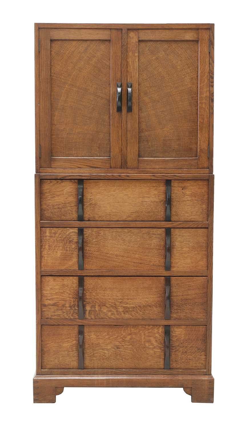 A Gordon Russell oak two-part cabinet and chest,