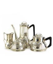 An Orivit sterling silver four-piece tea and coffee set,