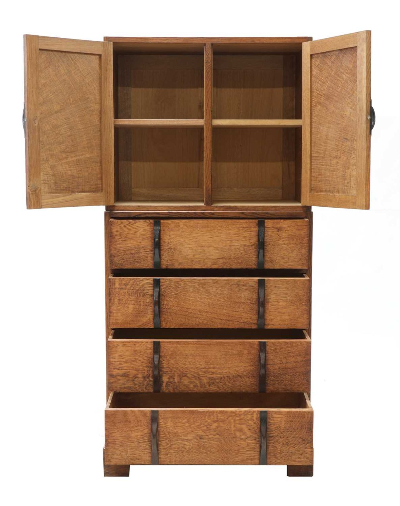 A Gordon Russell oak two-part cabinet and chest, - Image 2 of 5