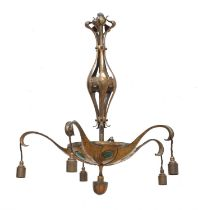 An Arts and Crafts copper five-branch electrolier,