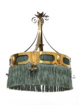 A secessionist brass pendant light,