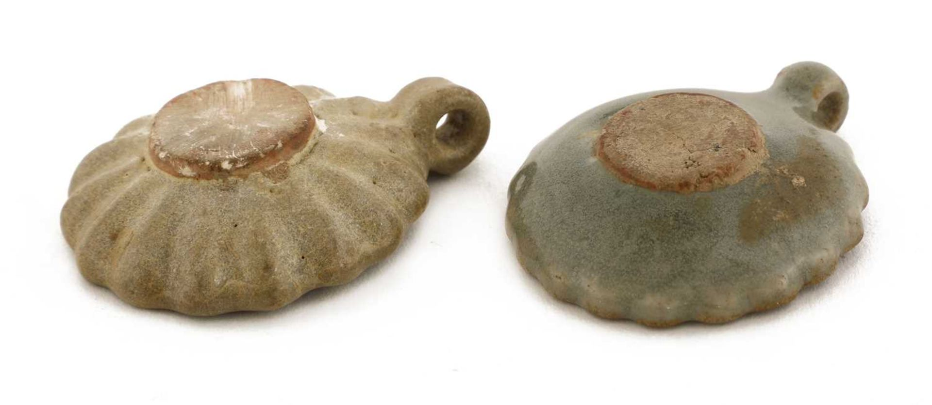 A pair of Chinese celadon-glazed bird feeders, - Image 2 of 2