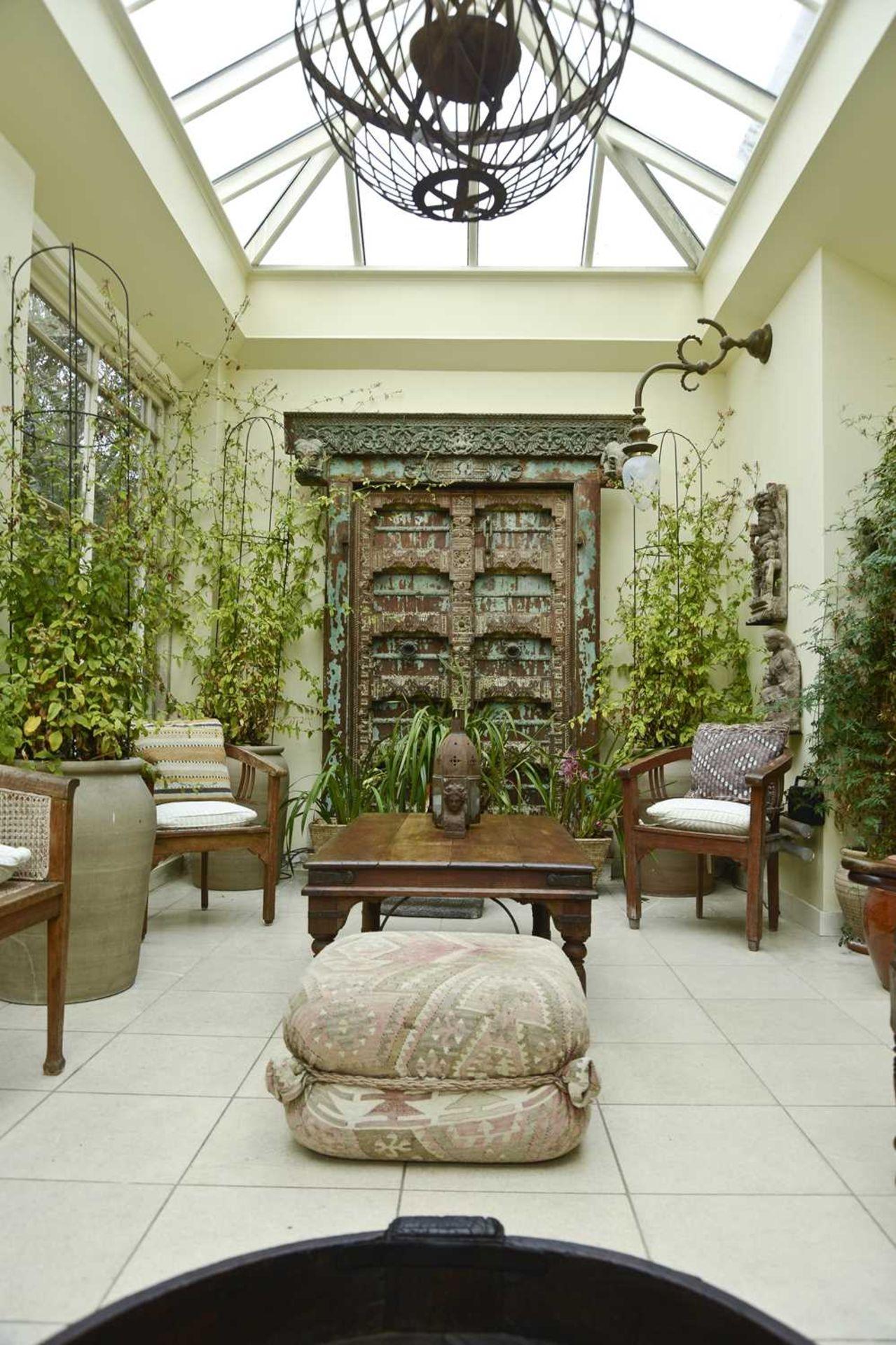 A large Indian carved hardwood door, - Image 4 of 6