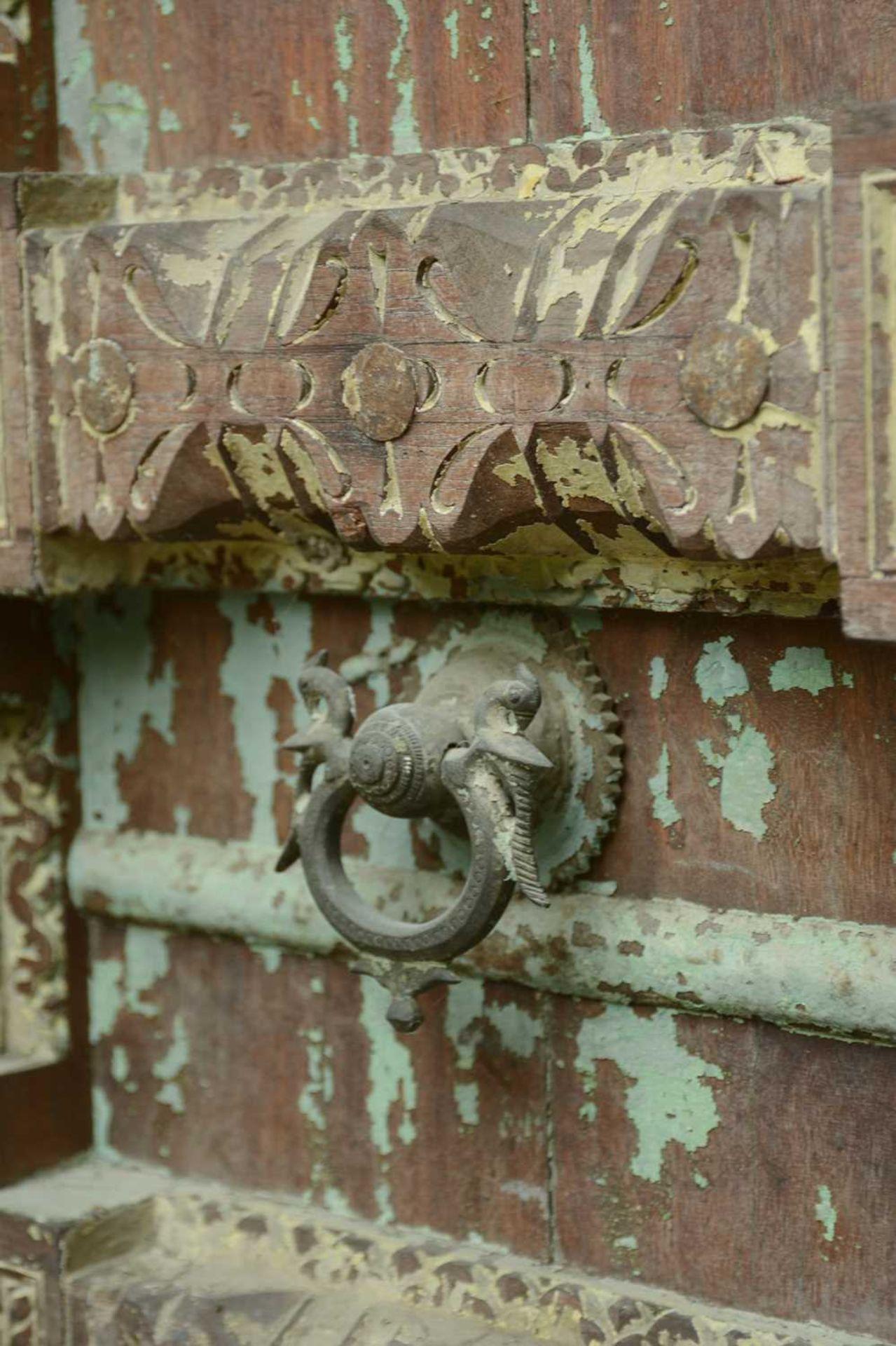 A large Indian carved hardwood door, - Image 2 of 6