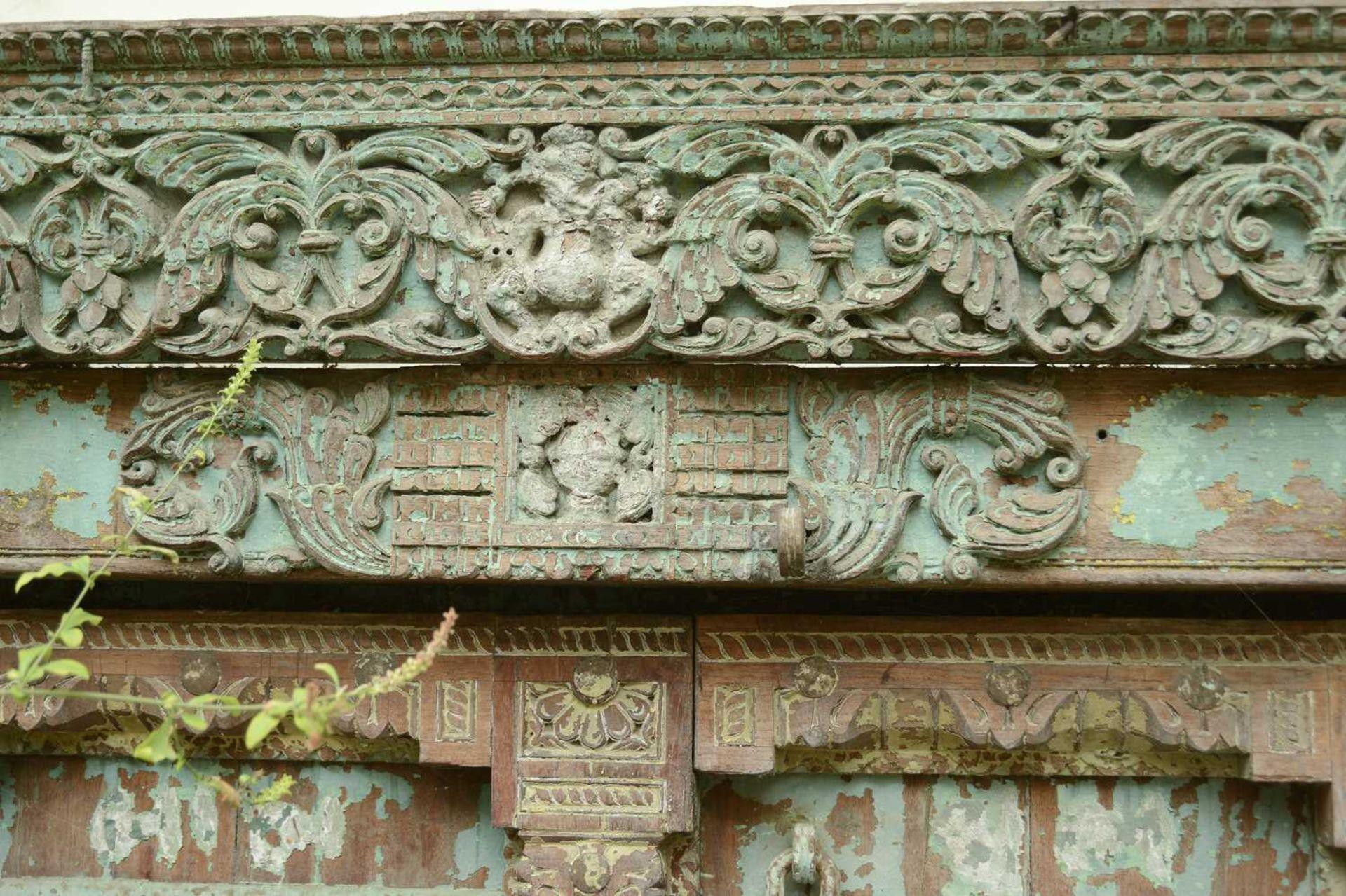 A large Indian carved hardwood door, - Image 3 of 6