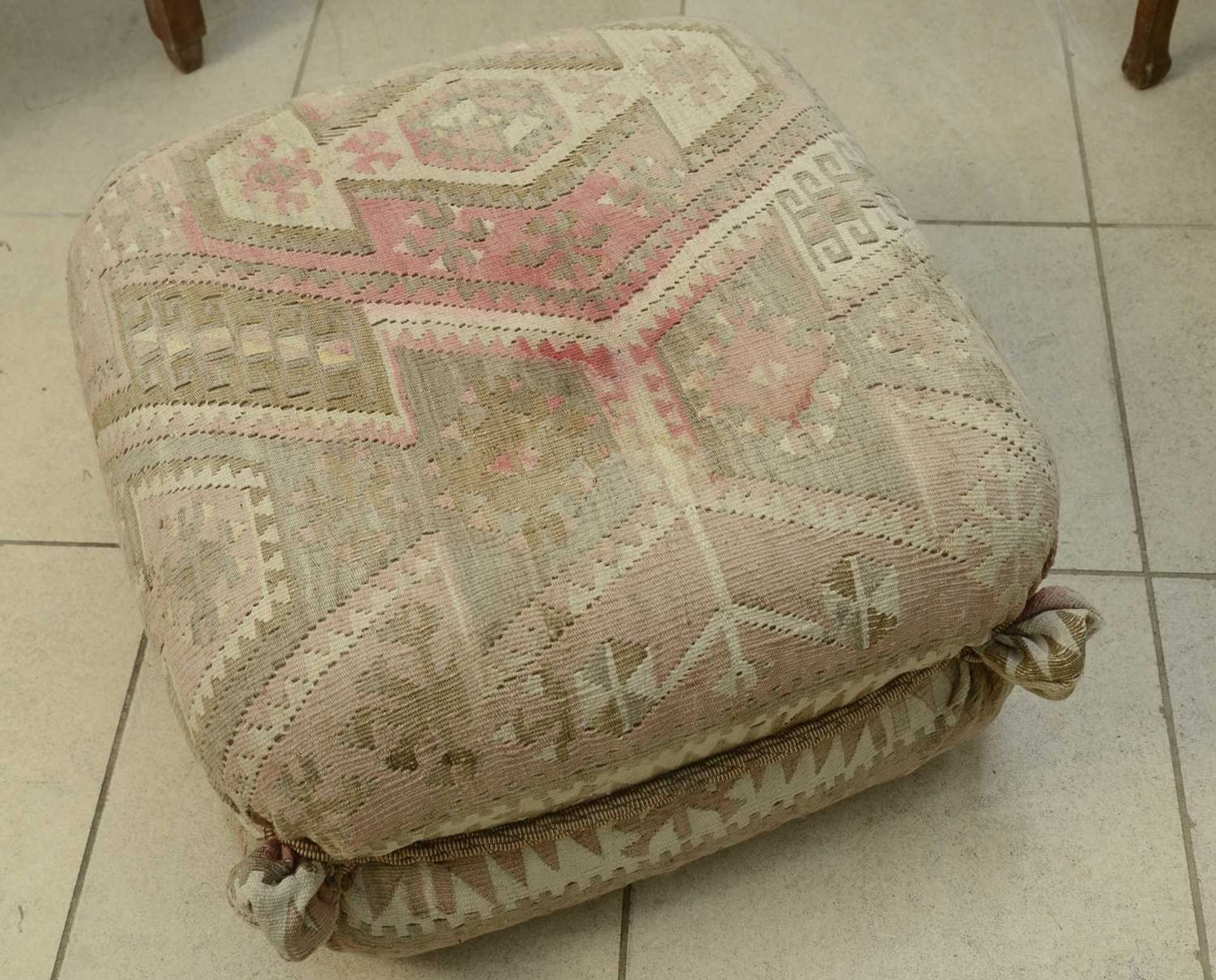 A kelim-covered pouffe, - Image 2 of 3