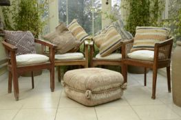 A kelim-covered pouffe,