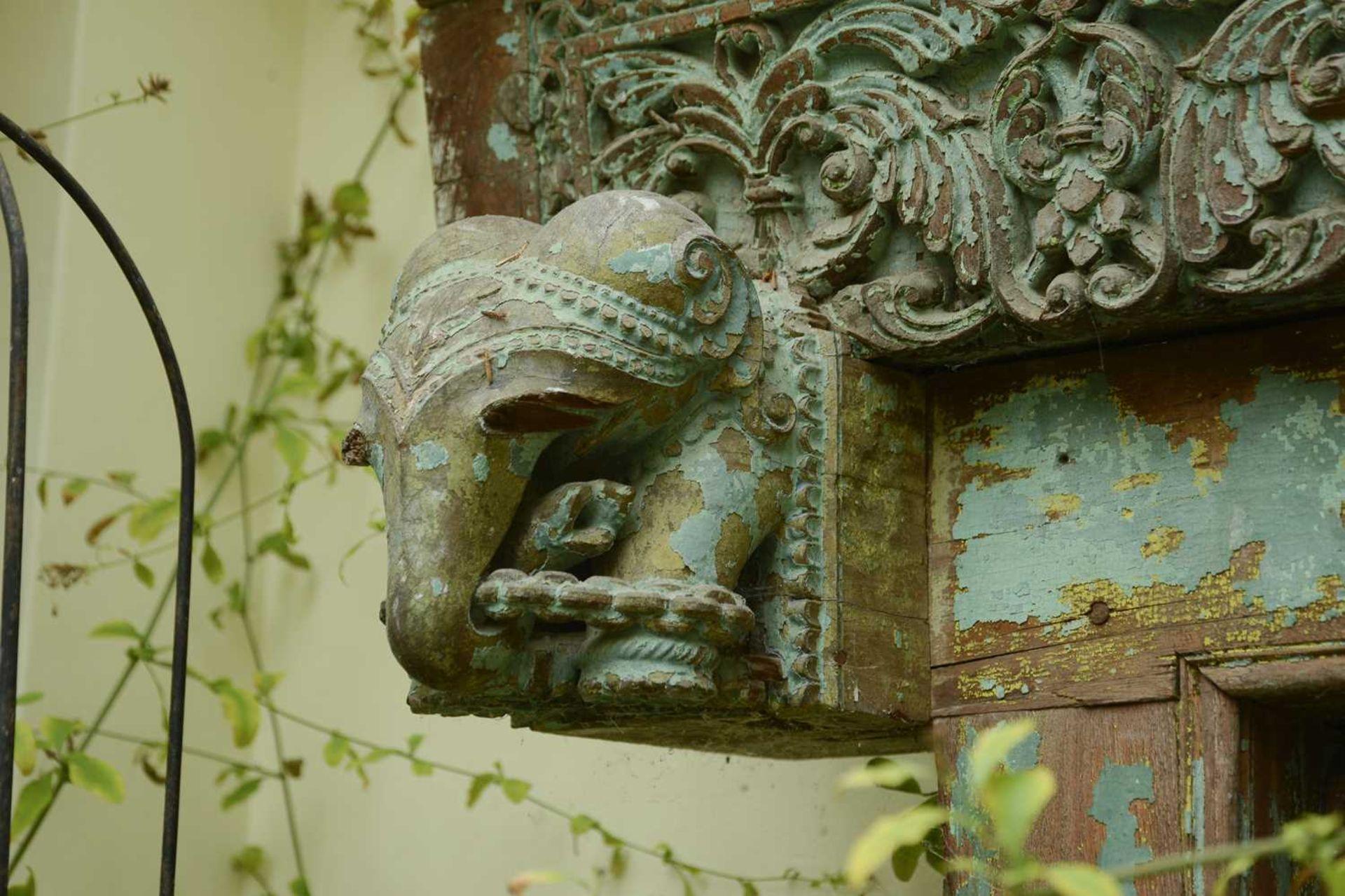 A large Indian carved hardwood door, - Image 6 of 6