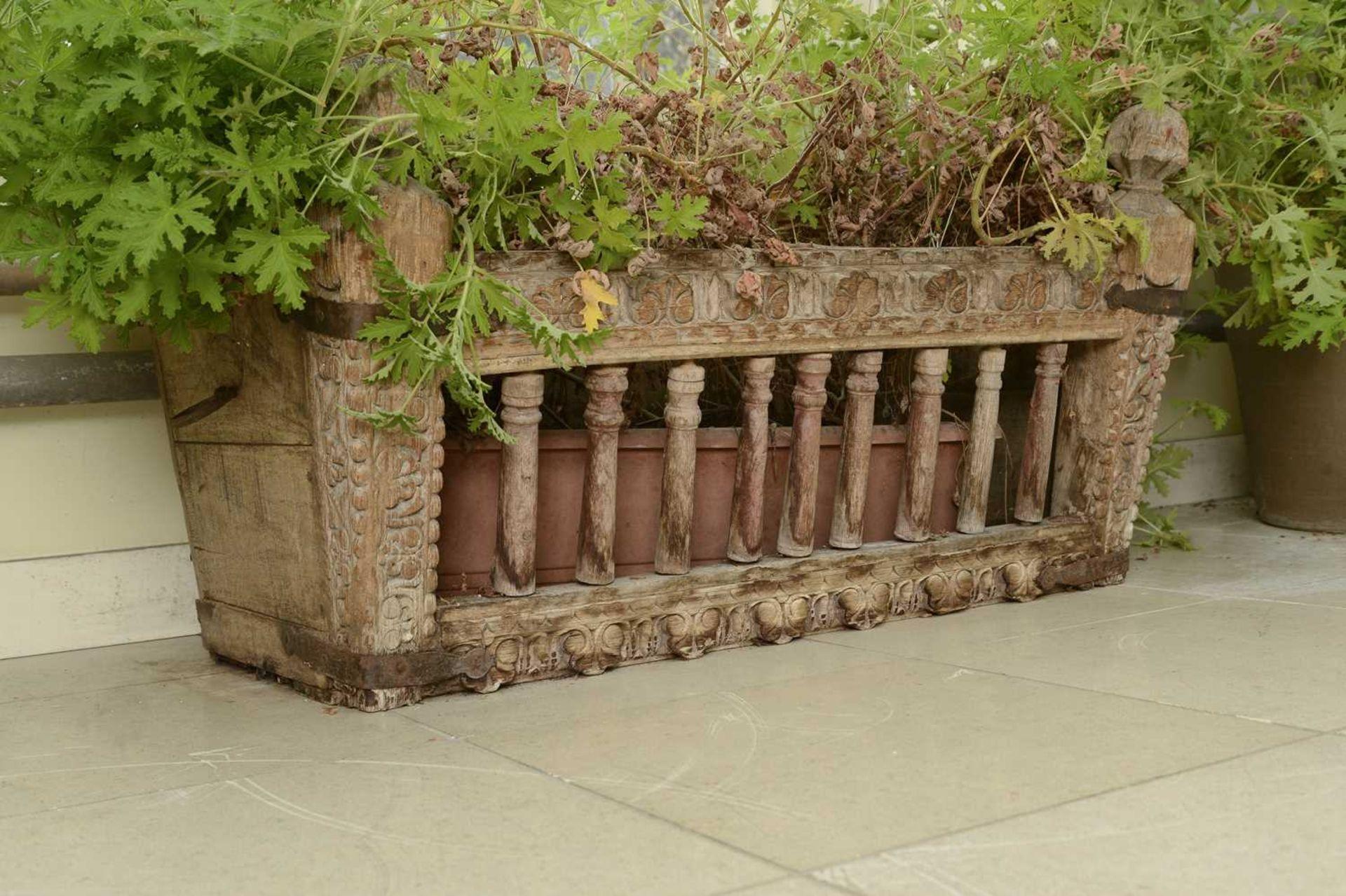 A carved hardwood manger/plant stand, - Image 3 of 3