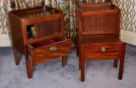 A matched pair of George III mahogany tray top commodes,
