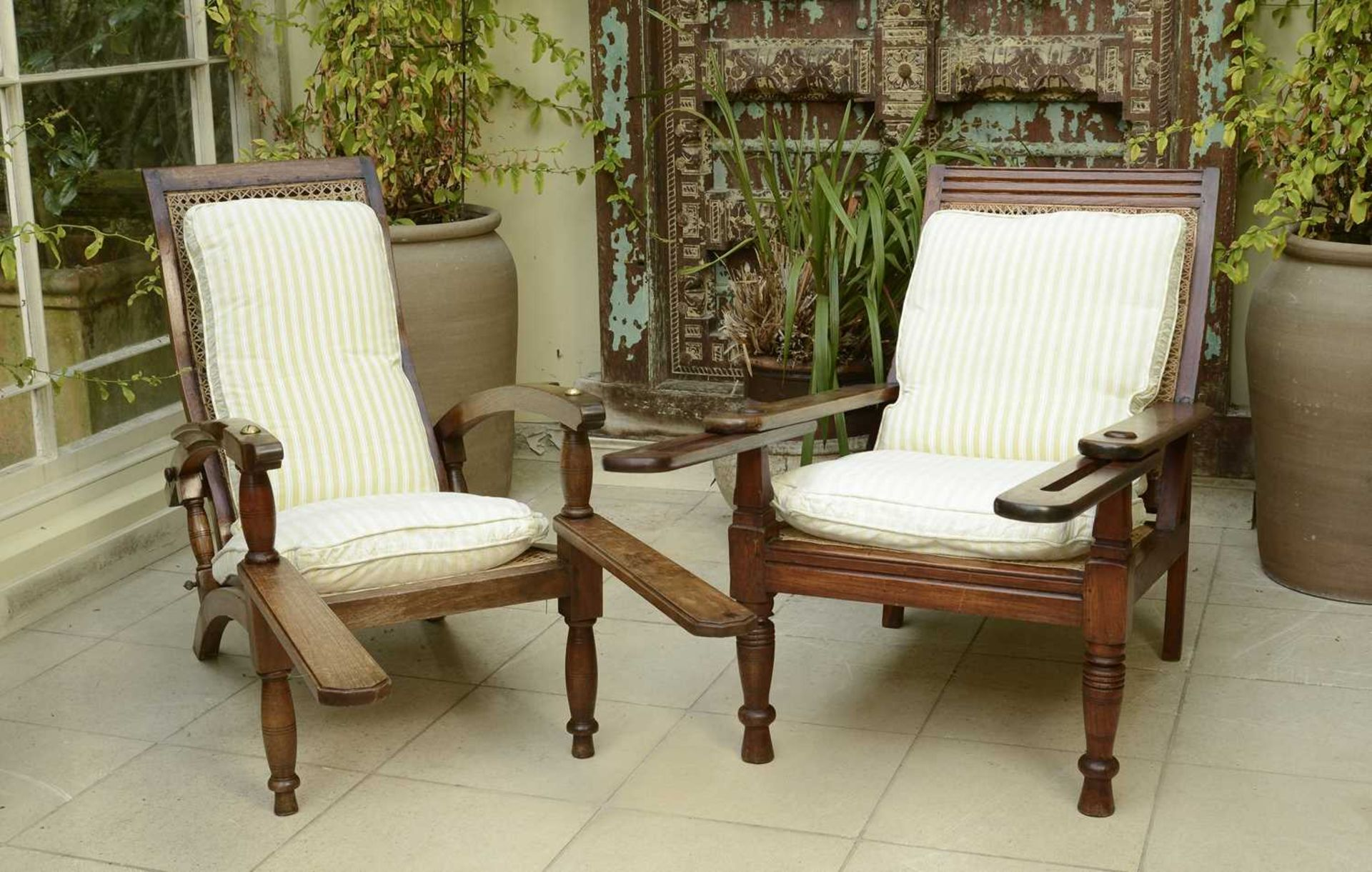 Two similar teak planter's chairs, - Image 2 of 4