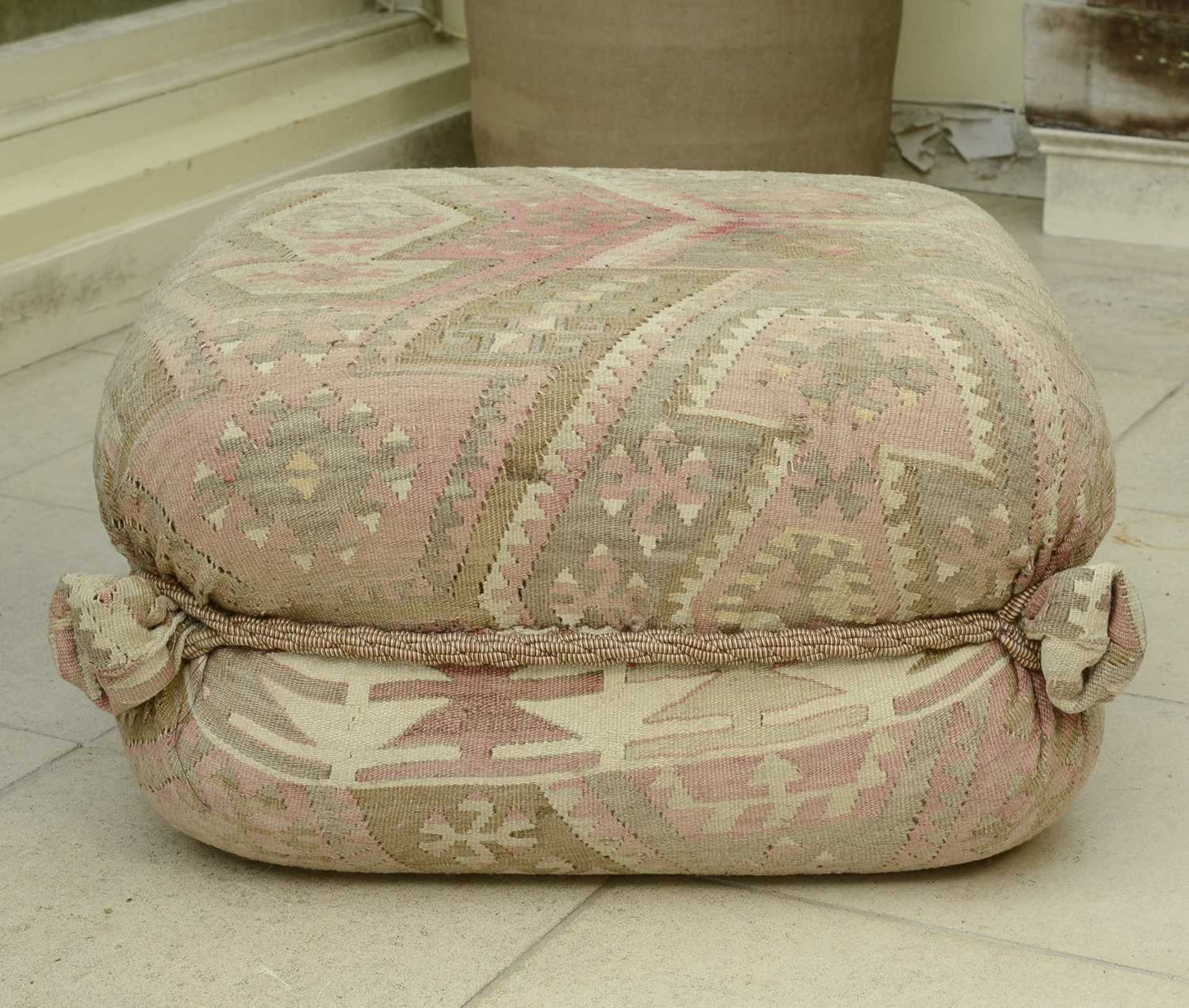 A kelim-covered pouffe, - Image 3 of 3