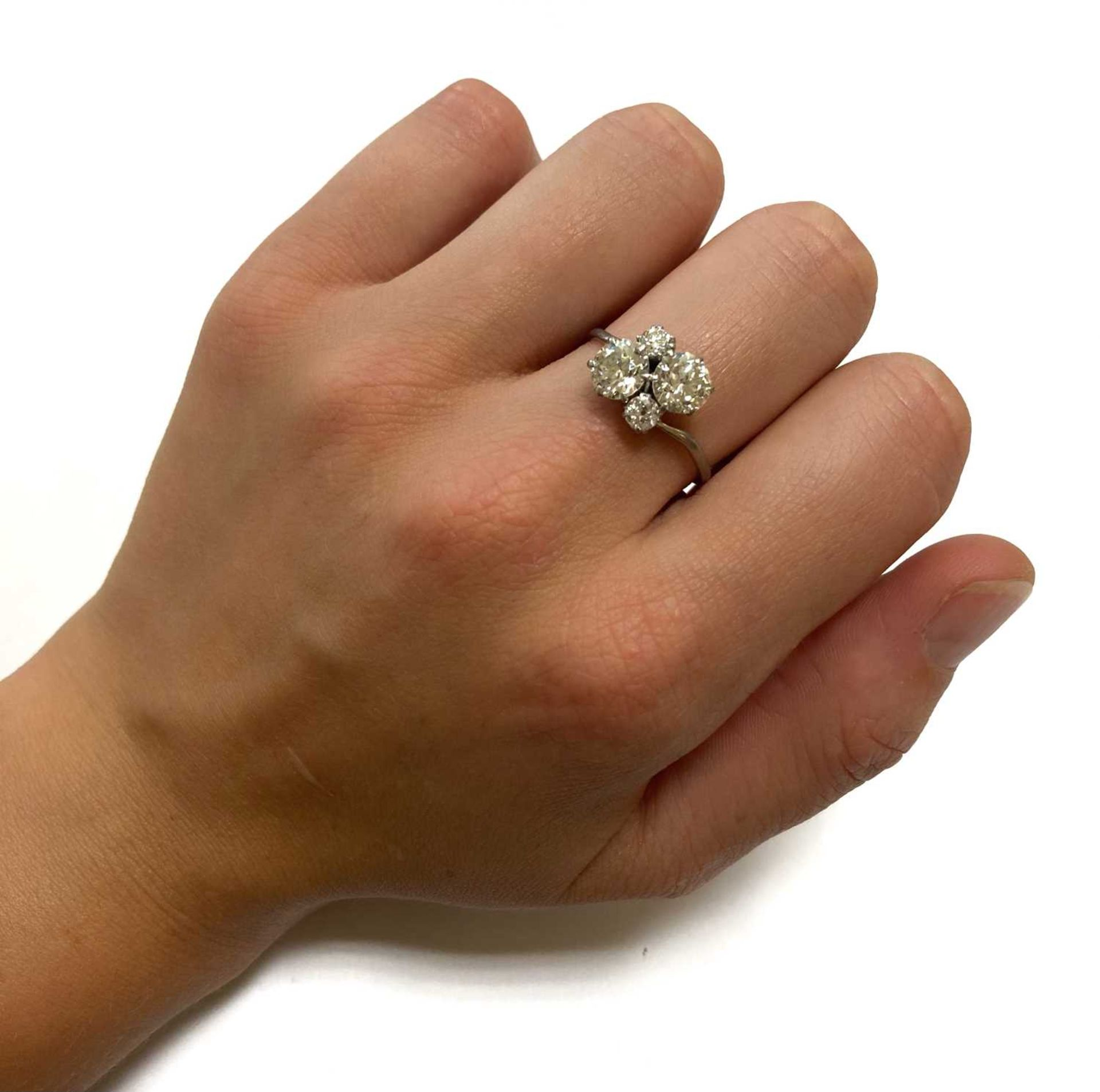 A white gold four stone diamond cluster ring, - Image 4 of 6