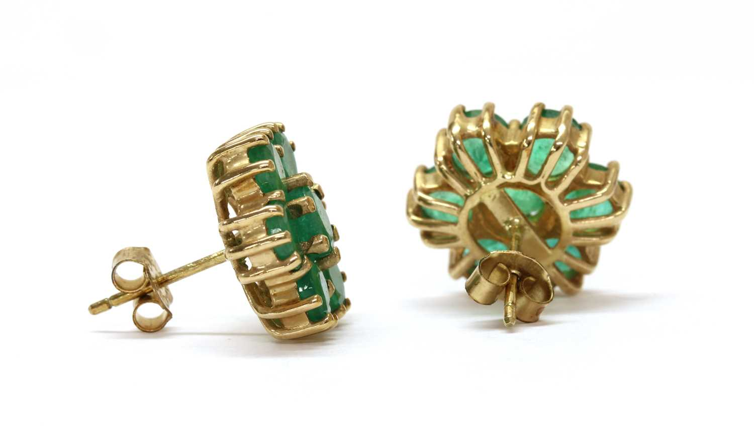 A pair of 9ct gold emerald daisy cluster earrings, - Image 2 of 2