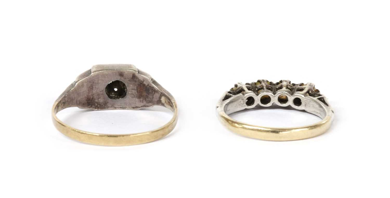 A silver and gold paste set ring, - Image 2 of 2