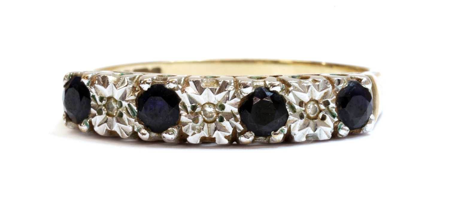 A 9ct gold sapphire and diamond half eternity ring,