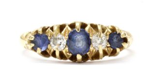 An Edwardian 18ct gold sapphire and diamond five stone ring,