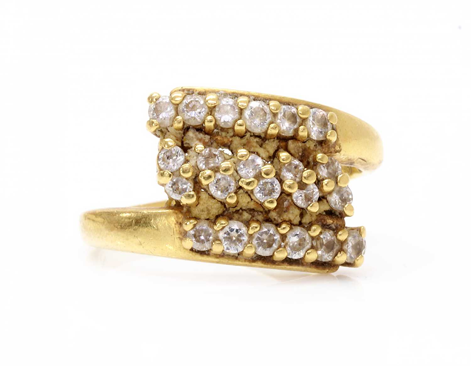 An Indian high carat gold cubic zirconia crossover ring, - Image 3 of 3