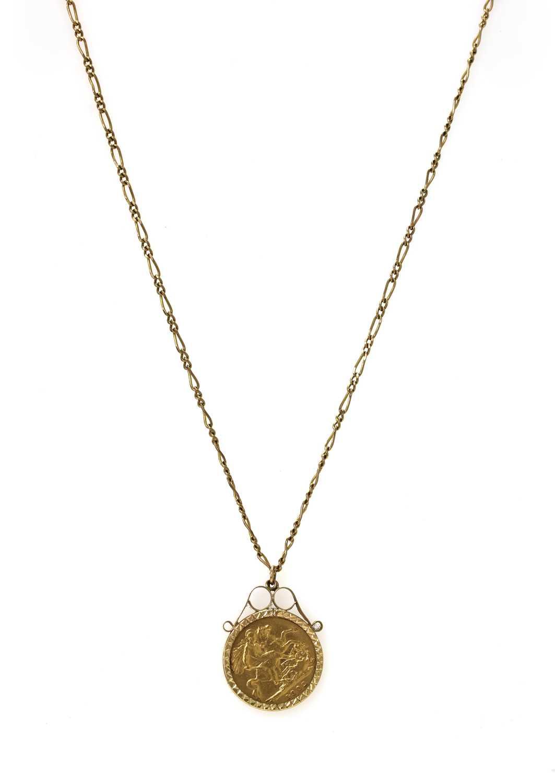 An Edward VII half sovereign pendant,