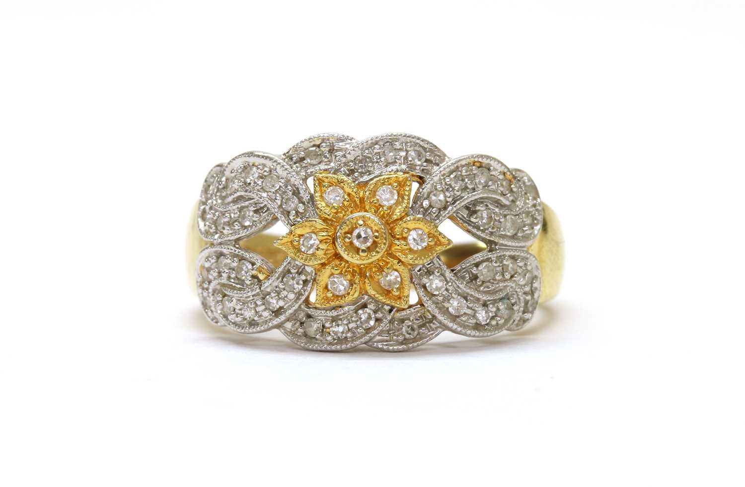 A diamond floral cluster ring,