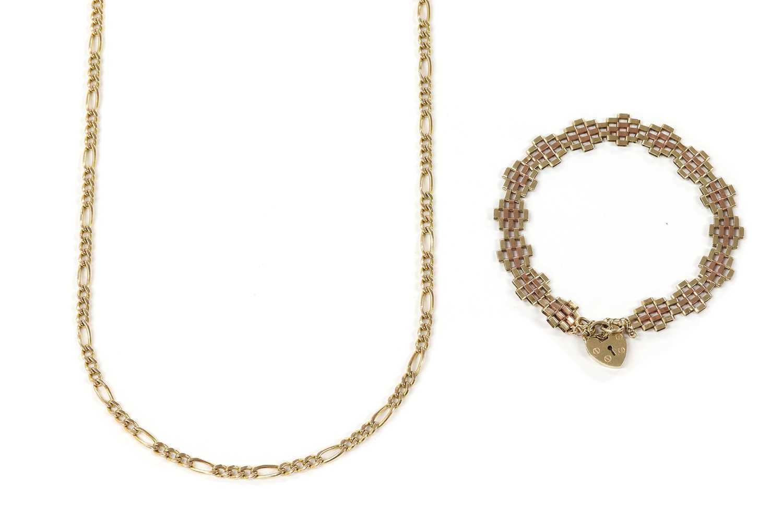 A 9ct two colour gold gate bracelet,