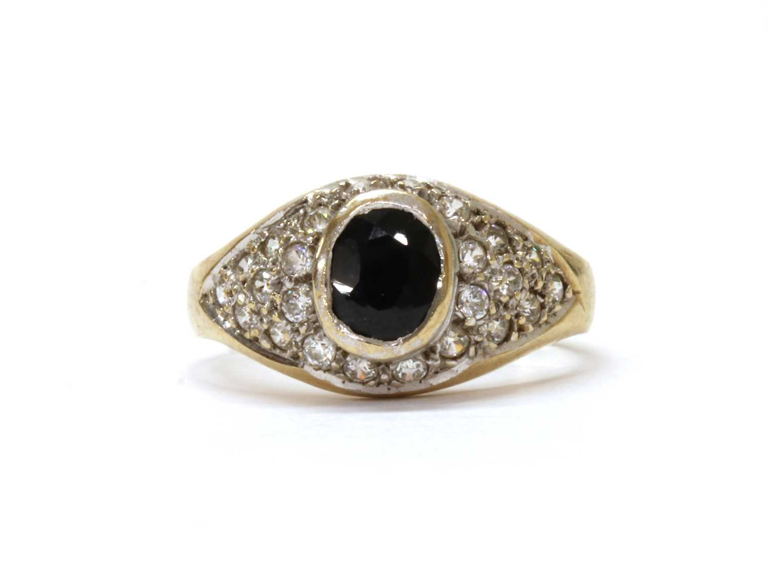 A 9ct gold sapphire and cubic zirconia ring,