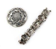 A sterling silver rose brooch, by Bernard Instone,