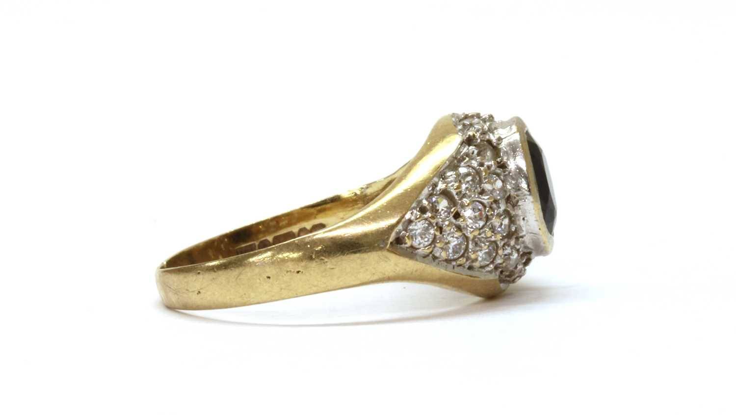 A 9ct gold sapphire and cubic zirconia ring, - Image 2 of 3