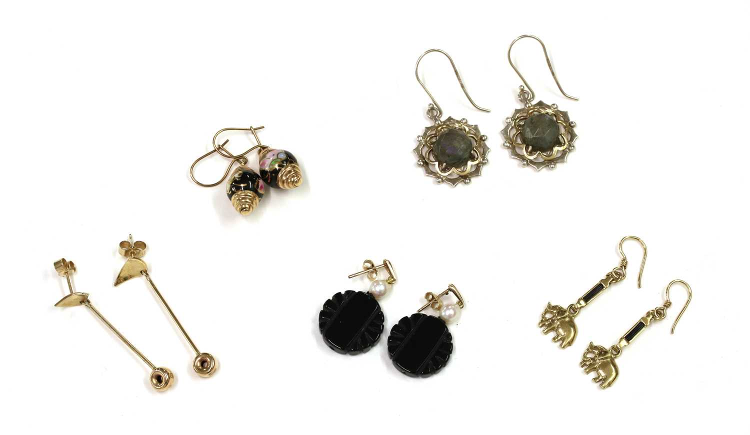 Five pairs of gold and silver earrings,