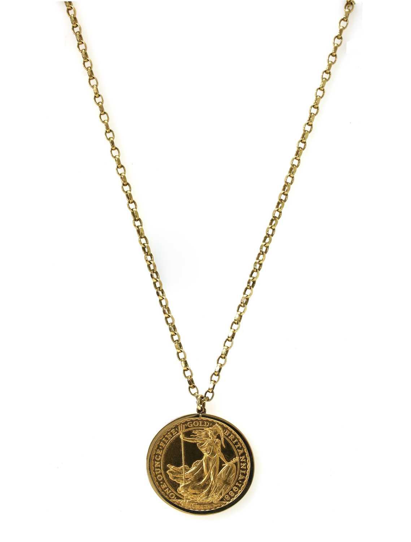 An Elizabeth II one ounce fine gold 100 pound Britannia coin pendant,