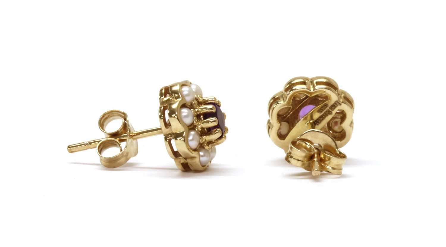 A pair of 9ct gold amethyst and split pearl cluster earrings, - Image 2 of 2