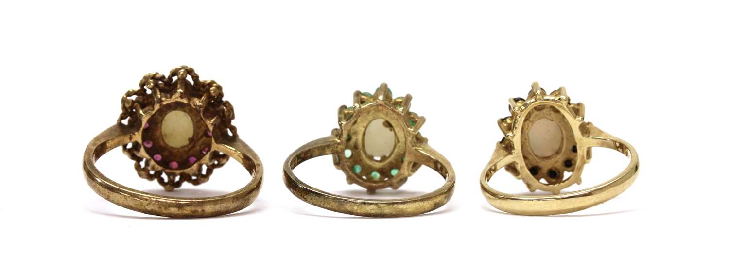 A 9ct gold opal and sapphire cluster ring, - Image 3 of 3