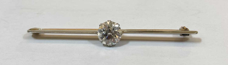 A gold and platinum single stone diamond bar brooch, - Image 5 of 5