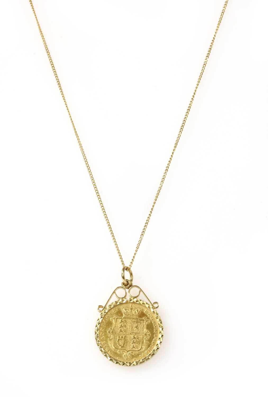 A Victoria half sovereign pendant,