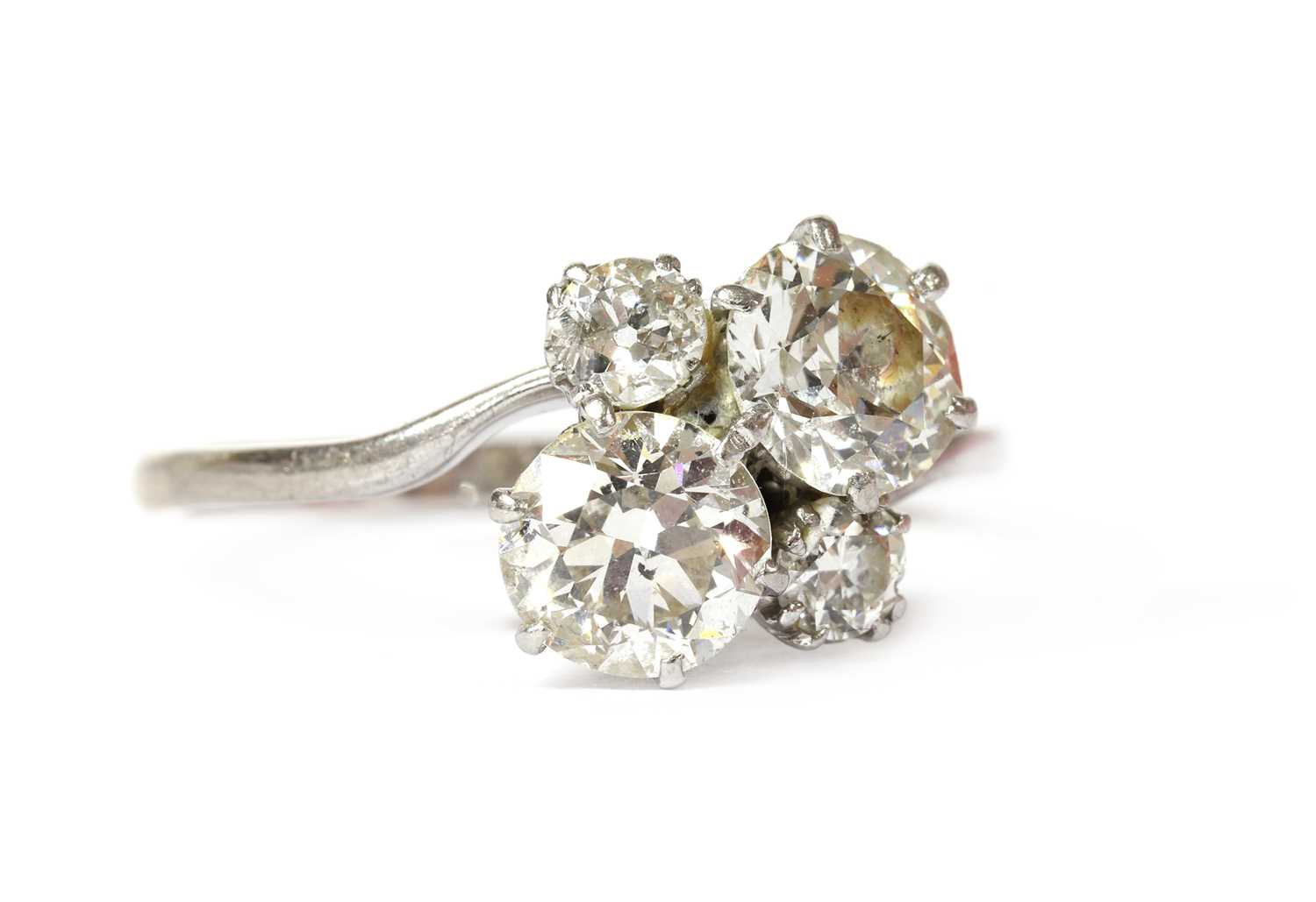 A white gold four stone diamond cluster ring, - Image 2 of 6